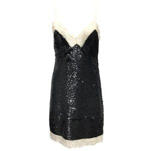 Ashish Black Sequin and Lace Trim Night Out Dress